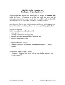 Reading and Responding -- Lesson 9 Lesson Plan
