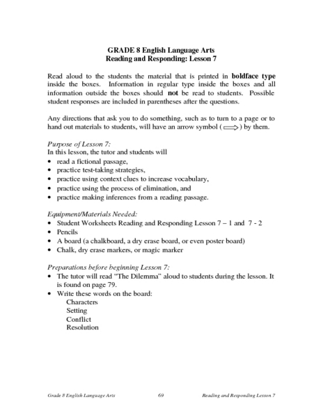 Reading and Responding -- Lesson 7 Lesson Plan
