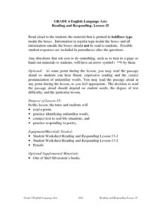 Reading and Responding -- Lesson 15 Lesson Plan