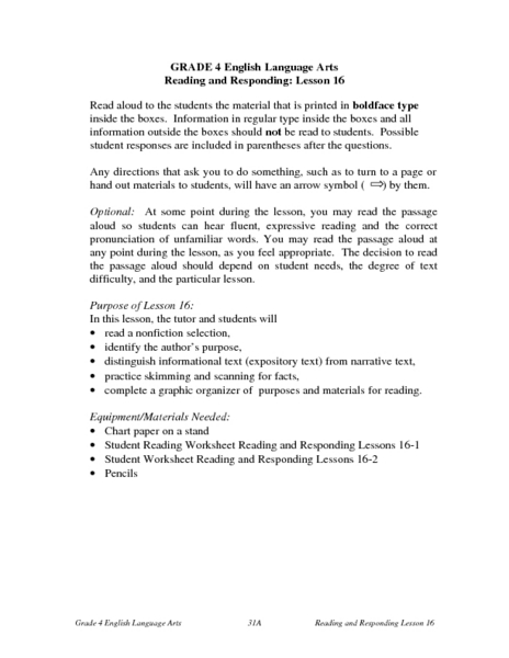 Reading and Responding -- Lesson 16 Lesson Plan