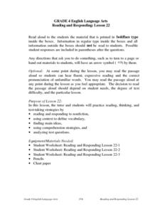 Reading and Responding Lesson Plan