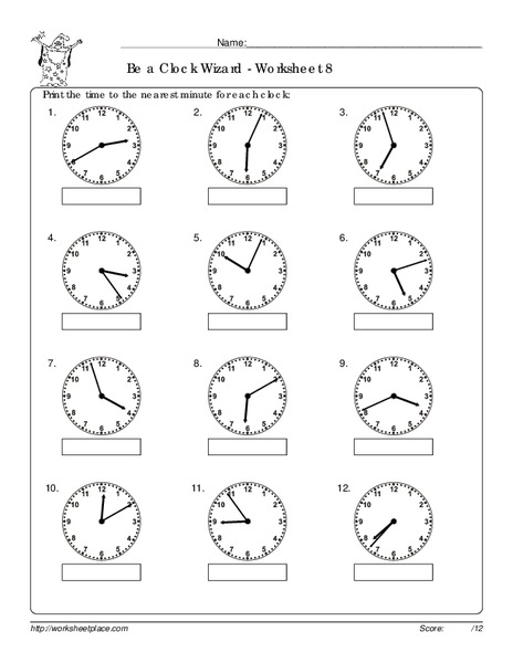 Be a Clock Wizard - Worksheet 8 Worksheet for 1st - 3rd