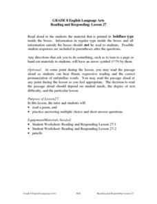 Reading and Responding: Lesson 27 Lesson Plan