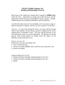 Reading and Responding to Literature Lesson Plan