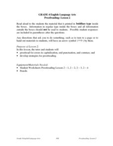 Proofreading: Lesson 2 Lesson Plan