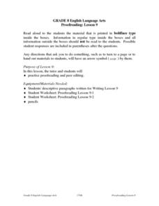 Proofreading Lesson 9 Lesson Plan