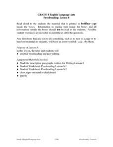 Proofreading: Lesson 8 Lesson Plan