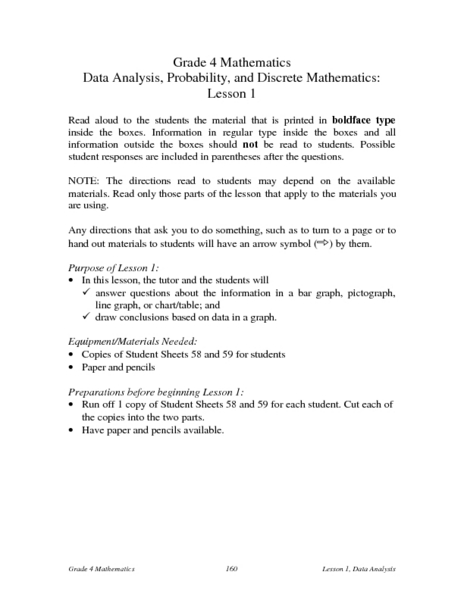 Data Analysis, Probability, and Discrete Mathematics Lesson Plan