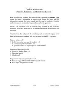 Patterns, Relations, and Functions: Lesson 7: Input/ Output Tables Lesson Plan