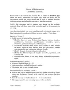 Geometry: Lesson 2 Lesson Plan
