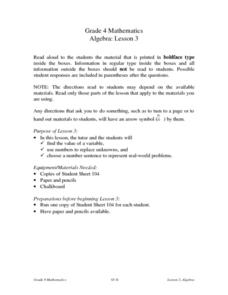 Algebra: Lesson 3: Variables Lesson Plan