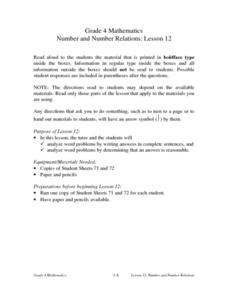 Number and Number Relations: Lesson 12: Word Problems Lesson Plan