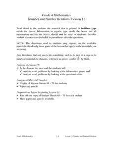 Number and Number Relations: Lesson 11: Word Problems Lesson Plan