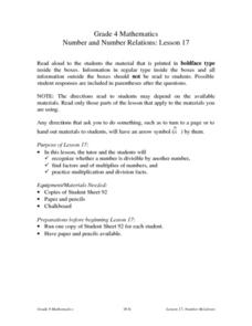 Number and Number Relations: Lesson 17 Lesson Plan