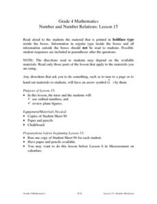 Number and Number Relations: Lesson 15 Lesson Plan
