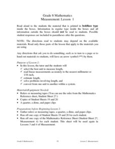 Measurement: Lesson 1 Lesson Plan