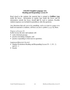 Reading and Responding: Lesson 10 Lesson Plan