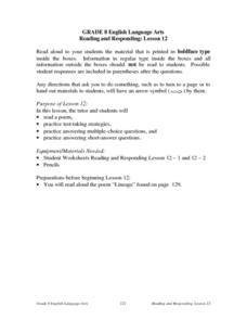 Reading and Responding: Lesson 12 Lesson Plan