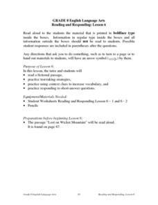Reading and Responding: Lesson 6 Lesson Plan