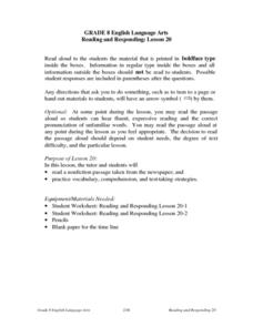 Reading and Responding: Lesson 20 Lesson Plan