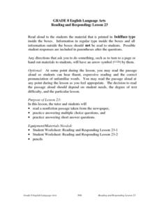 Reading and Responding: Lesson 23 Lesson Plan