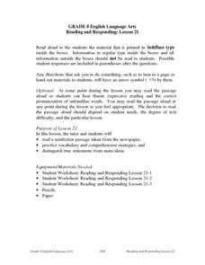 Reading and Responding: Lesson 21 Lesson Plan
