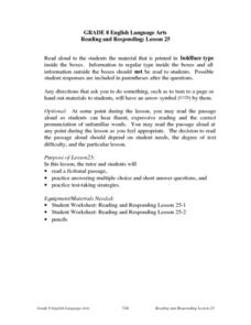 Reading and Responding: Lesson 25 Lesson Plan