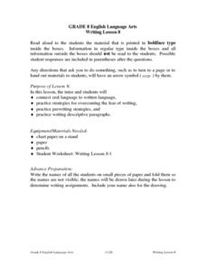 Writing Lesson 8 Lesson Plan