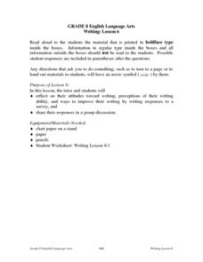 Writing: Lesson 6 Lesson Plan