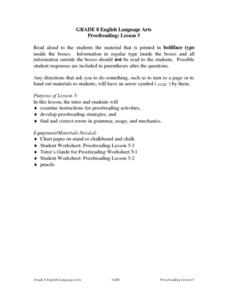 Proofreading: Lesson 5 Lesson Plan