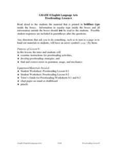 Proofreading Lesson 6 Lesson Plan
