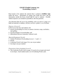 Proofreading: Lesson 4 Lesson Plan