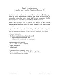 Number and Number Relations: Lesson 10 Lesson Plan