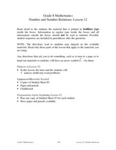 Number and Number Relations: Lesson 12 Lesson Plan