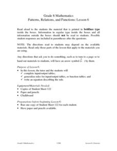 Patterns, Relations, and Functions: Lesson 6 Lesson Plan