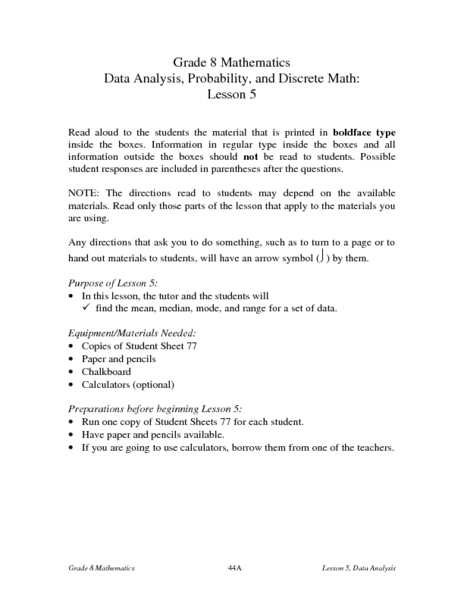 Data Analysis, Probability, and Discrete Math: Lesson 5 Lesson Plan