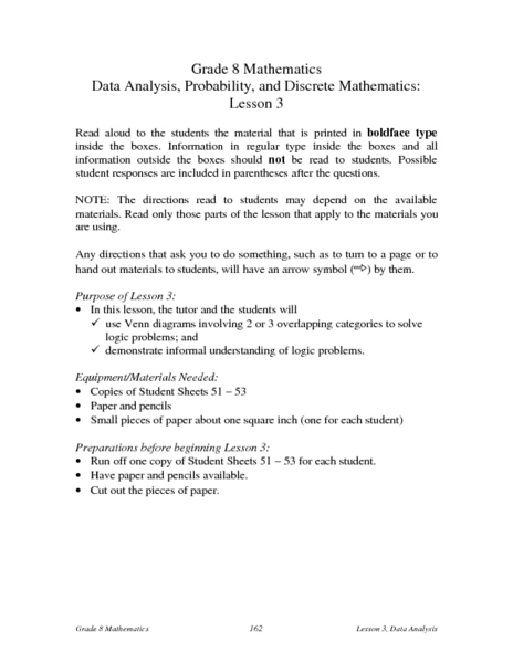 Data Analysis, Probability, and Discrete Math:  Venn Diagrams and Logic Problems Lesson Plan