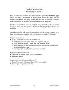 Geometry:  Lesson 1 Lesson Plan
