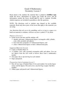 Geometry:  Three-Dimensional Figures Lesson Plan