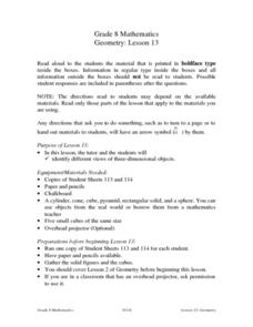 Geometry: Lesson 13 Lesson Plan
