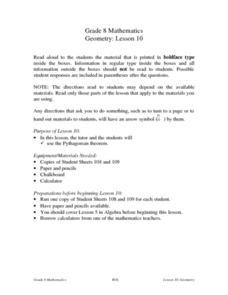 Geometry: Lesson 10 Lesson Plan