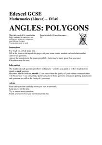 Angles in Polygons Assessment