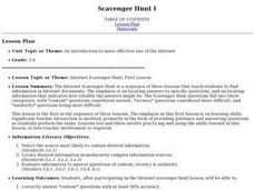 Internet Scavenger Hunt: Lesson 1 Lesson Plan