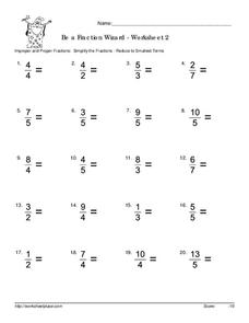 Be a Fraction Wizard - Worksheet 2 Worksheet
