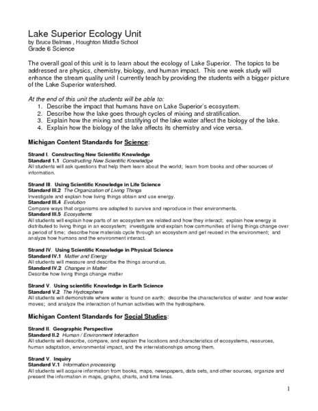 Lake Superior Ecology Unit Lesson Plan