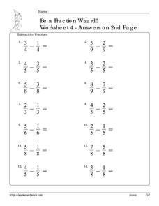 Be A Fraction Wizard! Worksheet 4 Worksheet