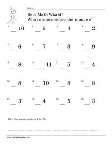 Be a Math Wizard! What Comes Before the Number? Worksheet