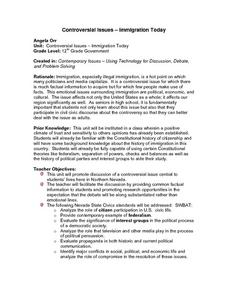 Controversial Issues - Immigration Today Lesson Plan