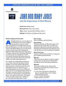 John and Mary Jones and the Importance of Oral History Lesson Plan