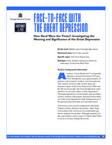 How Hard Were the Times? Investigating the Meaning and Significance of the Great Depression Lesson Plan